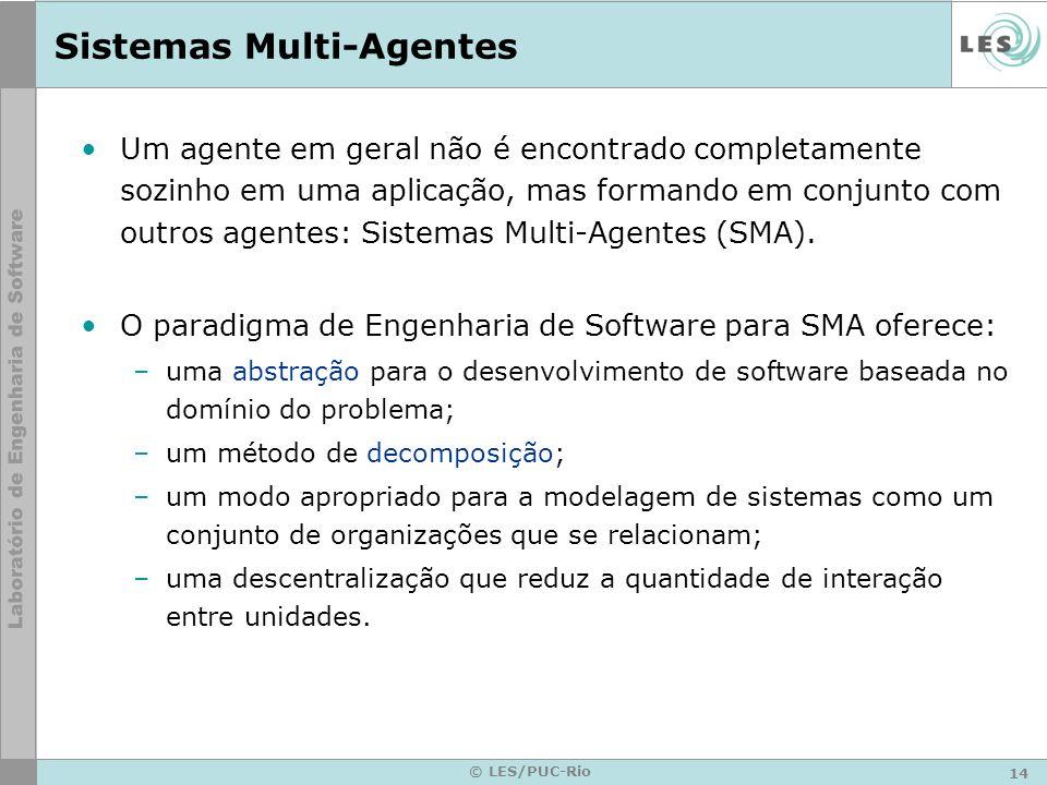 14 © LES/PUC-Rio Sistemas Multi-Agentes Um agente em geral não é encontrado completamente sozinho em uma aplicação, mas formando em conjunto com outro