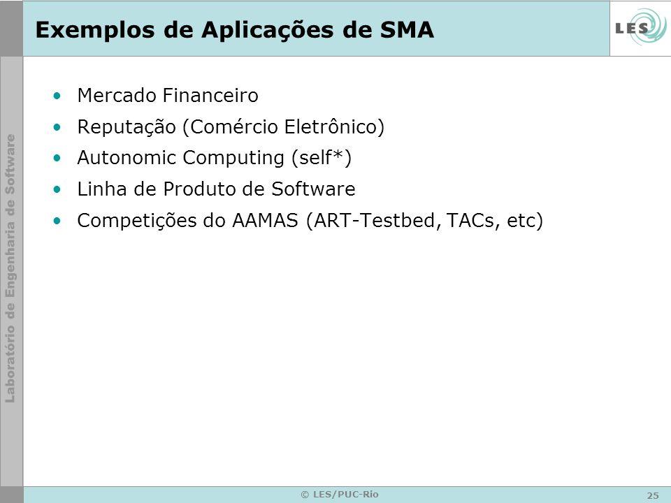 25 © LES/PUC-Rio Exemplos de Aplicações de SMA Mercado Financeiro Reputação (Comércio Eletrônico) Autonomic Computing (self*) Linha de Produto de Soft