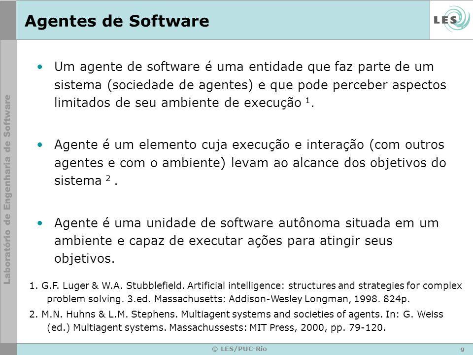 9 © LES/PUC-Rio Agentes de Software Um agente de software é uma entidade que faz parte de um sistema (sociedade de agentes) e que pode perceber aspect