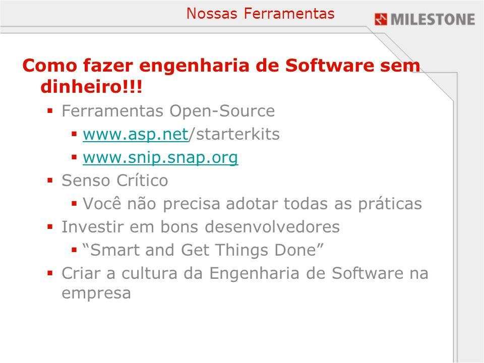 Nossas Ferramentas Como fazer engenharia de Software sem dinheiro!!! Ferramentas Open-Source www.asp.net/starterkits www.asp.net www.snip.snap.org Sen