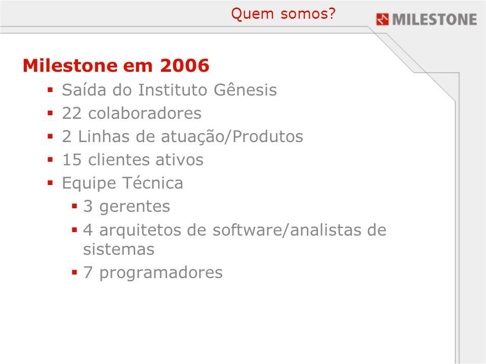 Quem somos? Milestone em 2006 Saída do Instituto Gênesis 22 colaboradores 2 Linhas de atuação/Produtos 15 clientes ativos Equipe Técnica 3 gerentes 4