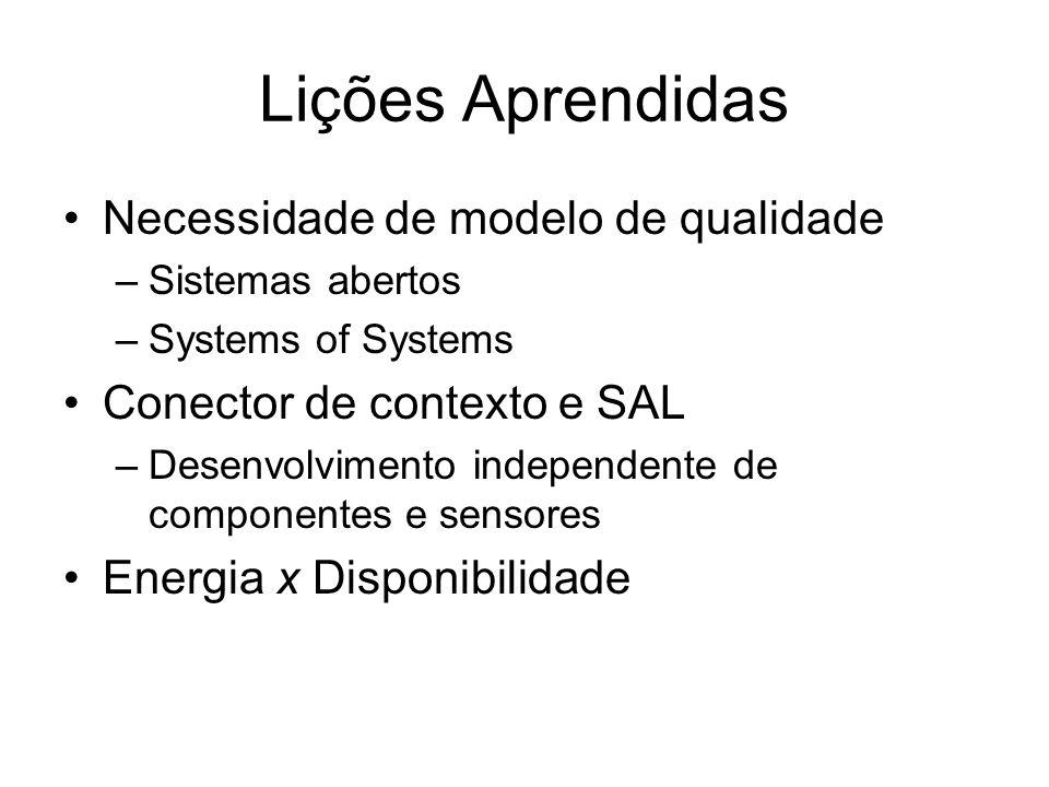Lições Aprendidas Necessidade de modelo de qualidade –Sistemas abertos –Systems of Systems Conector de contexto e SAL –Desenvolvimento independente de