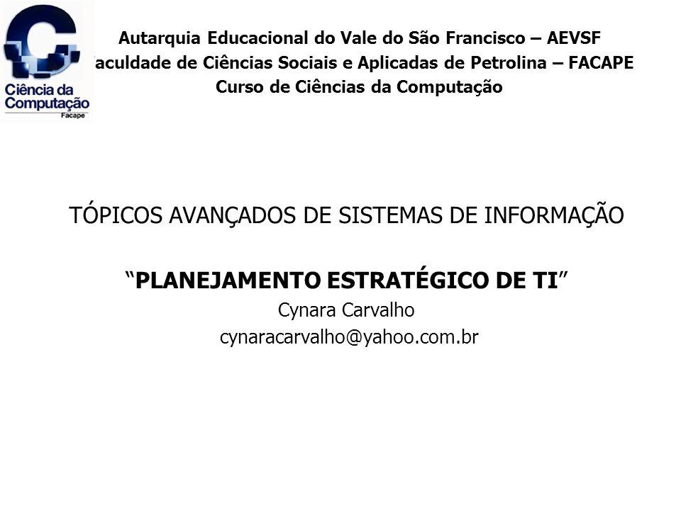 TÓPICOS AVANÇADOS DE SISTEMAS DE INFORMAÇÃO PLANEJAMENTO ESTRATÉGICO DE TI Cynara Carvalho cynaracarvalho@yahoo.com.br Autarquia Educacional do Vale d