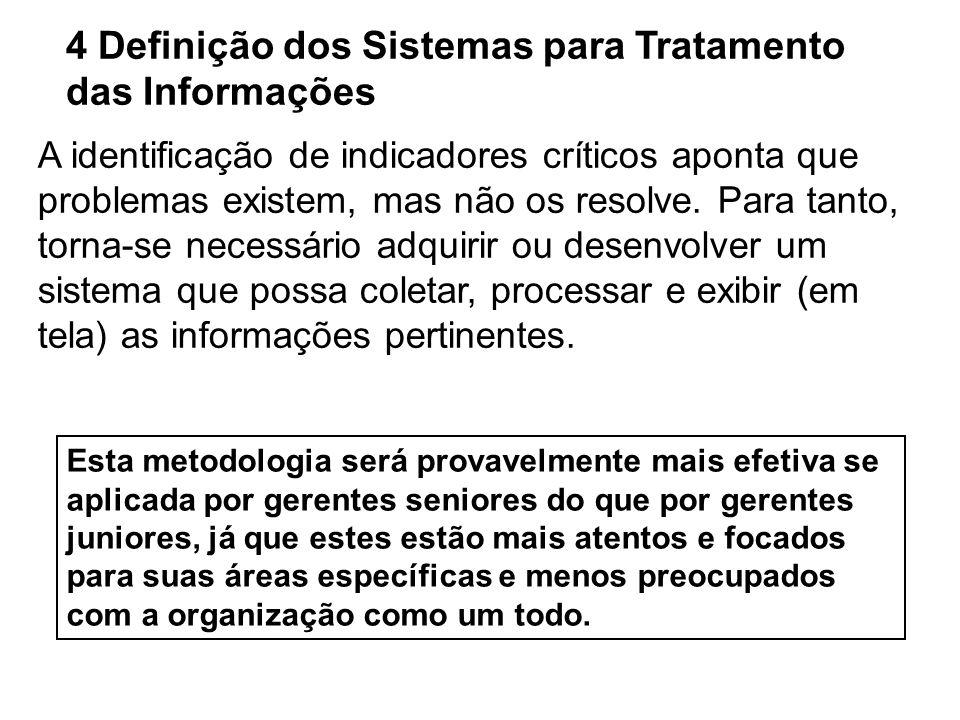 4 Definição dos Sistemas para Tratamento das Informações A identificação de indicadores críticos aponta que problemas existem, mas não os resolve. Par