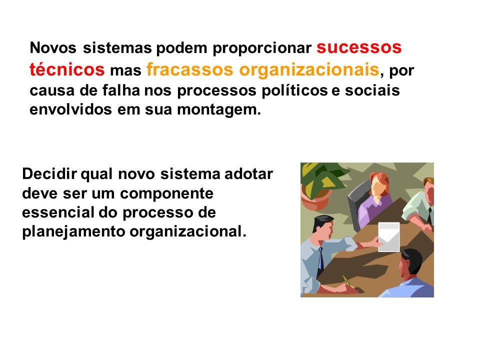 Novos sistemas podem proporcionar sucessos técnicos mas fracassos organizacionais, por causa de falha nos processos políticos e sociais envolvidos em