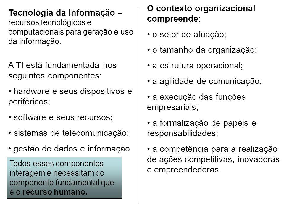 Tecnologia da Informação – recursos tecnológicos e computacionais para geração e uso da informação. A TI está fundamentada nos seguintes componentes: