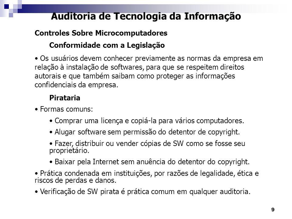 9 Auditoria de Tecnologia da Informação Controles Sobre Microcomputadores Conformidade com a Legislação Os usuários devem conhecer previamente as norm