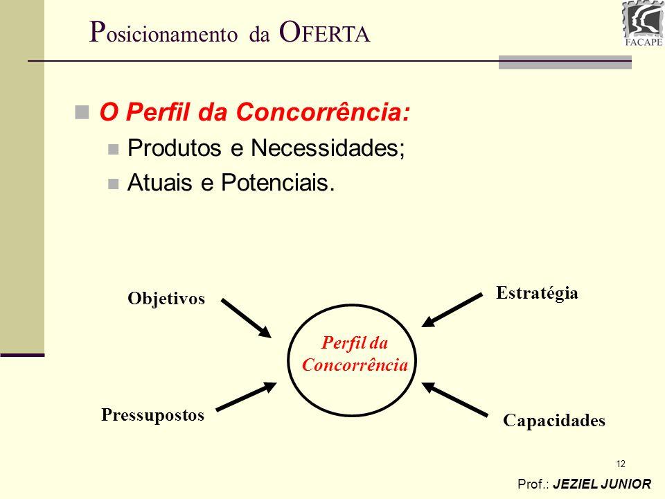 12 O Perfil da Concorrência: Produtos e Necessidades; Atuais e Potenciais. Perfil da Concorrência Objetivos Pressupostos Estratégia Capacidades Prof.:
