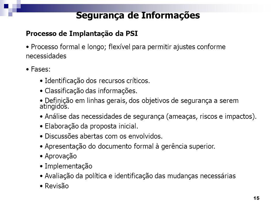 15 Segurança de Informações Processo de Implantação da PSI Processo formal e longo; flexível para permitir ajustes conforme necessidades Fases: Identi