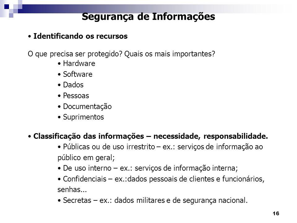 16 Segurança de Informações Identificando os recursos O que precisa ser protegido? Quais os mais importantes? Hardware Software Dados Pessoas Document