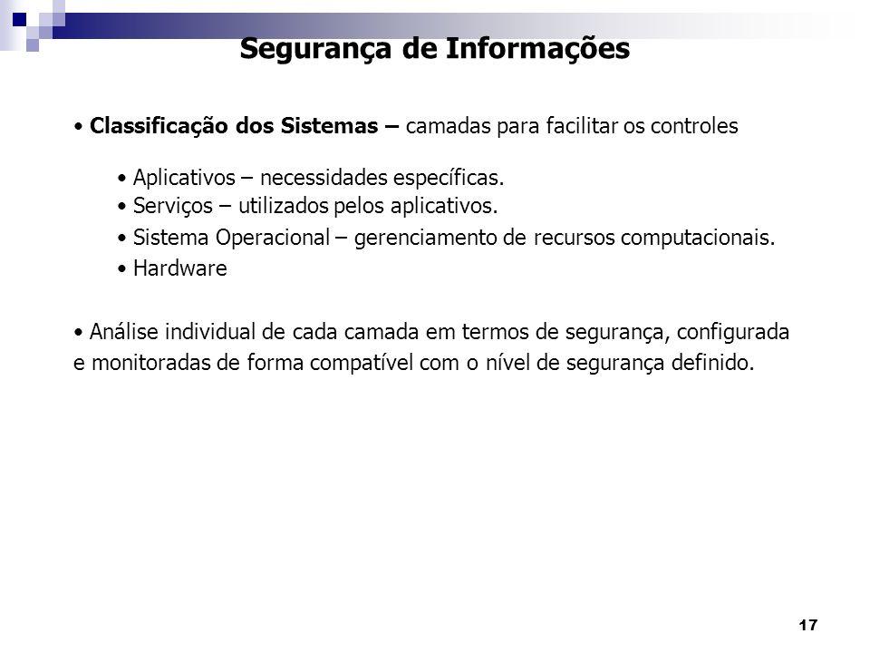 17 Segurança de Informações Classificação dos Sistemas – camadas para facilitar os controles Aplicativos – necessidades específicas. Serviços – utiliz