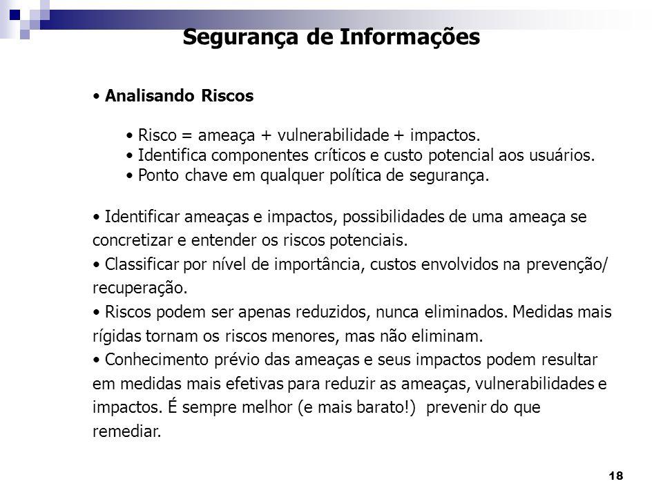 18 Segurança de Informações Analisando Riscos Risco = ameaça + vulnerabilidade + impactos. Identifica componentes críticos e custo potencial aos usuár
