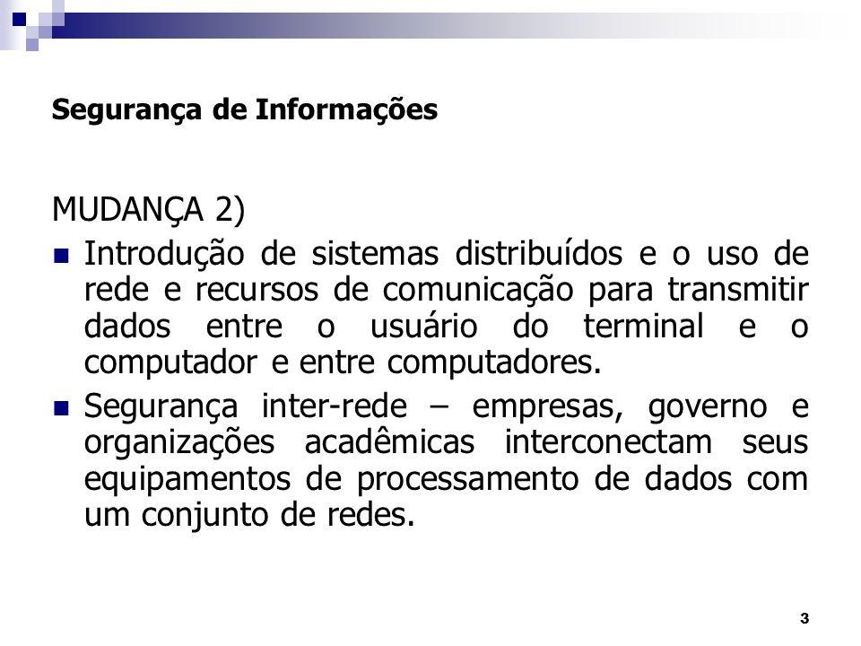 3 Segurança de Informações MUDANÇA 2) Introdução de sistemas distribuídos e o uso de rede e recursos de comunicação para transmitir dados entre o usuá
