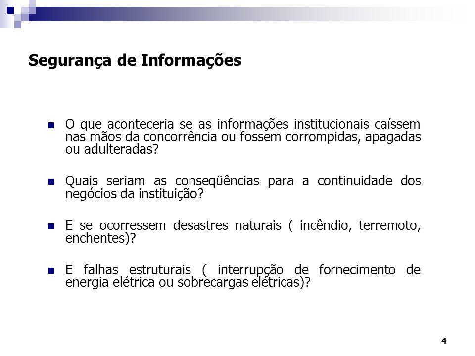 4 Segurança de Informações O que aconteceria se as informações institucionais caíssem nas mãos da concorrência ou fossem corrompidas, apagadas ou adul