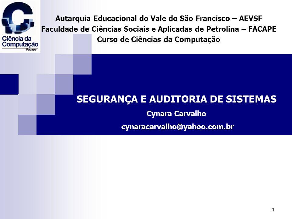 2 Ementa: Auditoria de sistemas, PED nas empresas; segurança, formação de Departamentos de auditoria, levantamentos, procedimentos.