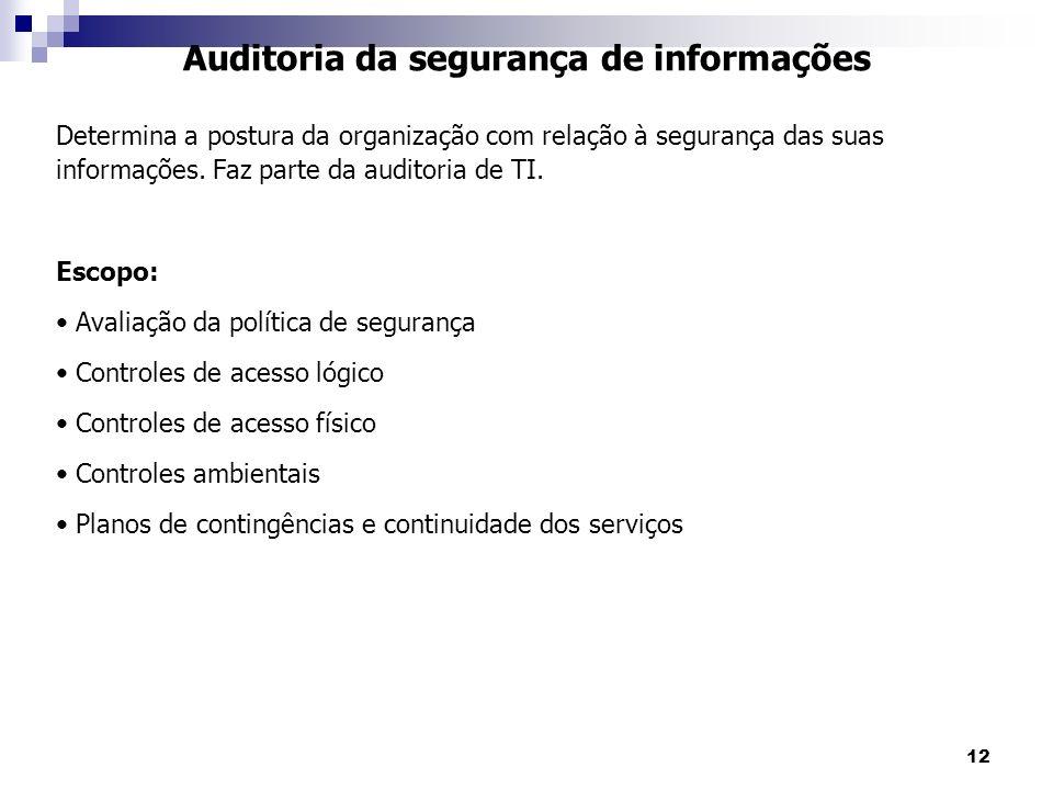12 Auditoria da segurança de informações Determina a postura da organização com relação à segurança das suas informações. Faz parte da auditoria de TI