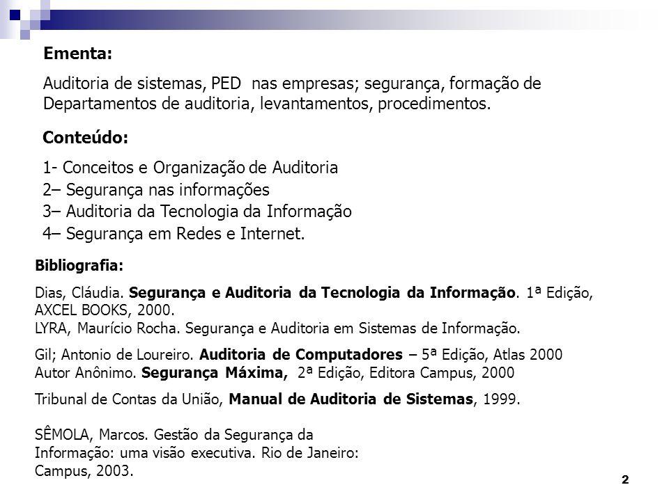 2 Ementa: Auditoria de sistemas, PED nas empresas; segurança, formação de Departamentos de auditoria, levantamentos, procedimentos. Conteúdo: 1- Conce