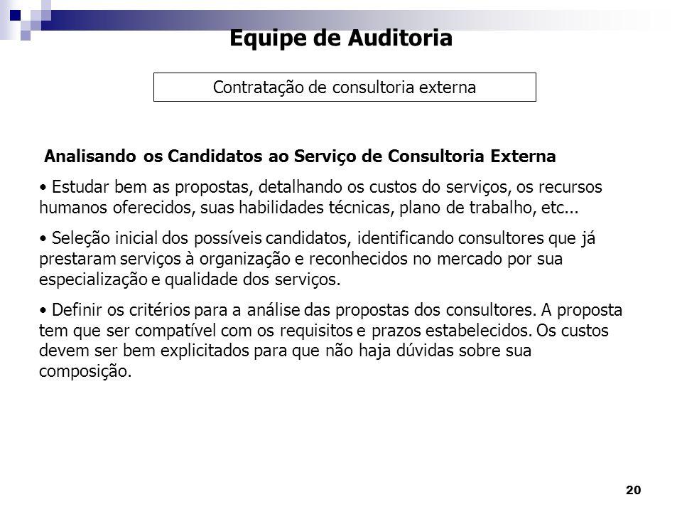 20 Equipe de Auditoria Analisando os Candidatos ao Serviço de Consultoria Externa Estudar bem as propostas, detalhando os custos do serviços, os recur