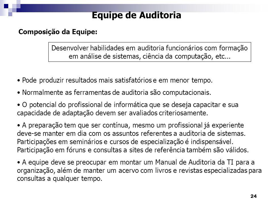 24 Equipe de Auditoria Pode produzir resultados mais satisfatórios e em menor tempo. Normalmente as ferramentas de auditoria são computacionais. O pot