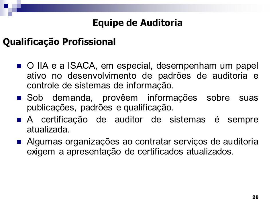 28 O IIA e a ISACA, em especial, desempenham um papel ativo no desenvolvimento de padrões de auditoria e controle de sistemas de informação. Sob deman