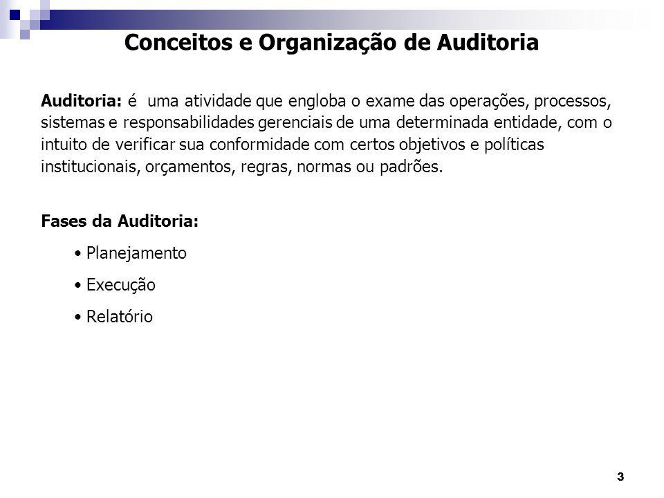 3 Conceitos e Organização de Auditoria Auditoria: é uma atividade que engloba o exame das operações, processos, sistemas e responsabilidades gerenciai