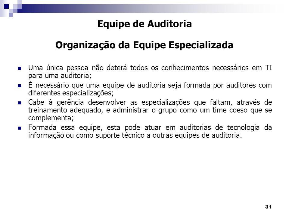 31 Uma única pessoa não deterá todos os conhecimentos necessários em TI para uma auditoria; É necessário que uma equipe de auditoria seja formada por
