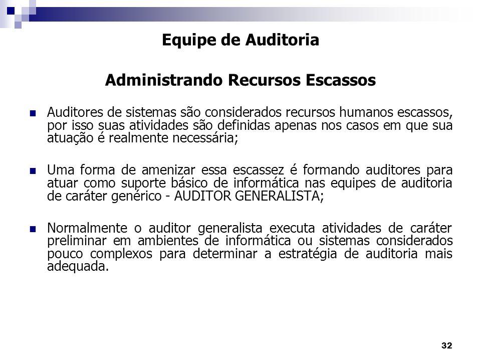32 Auditores de sistemas são considerados recursos humanos escassos, por isso suas atividades são definidas apenas nos casos em que sua atuação é real