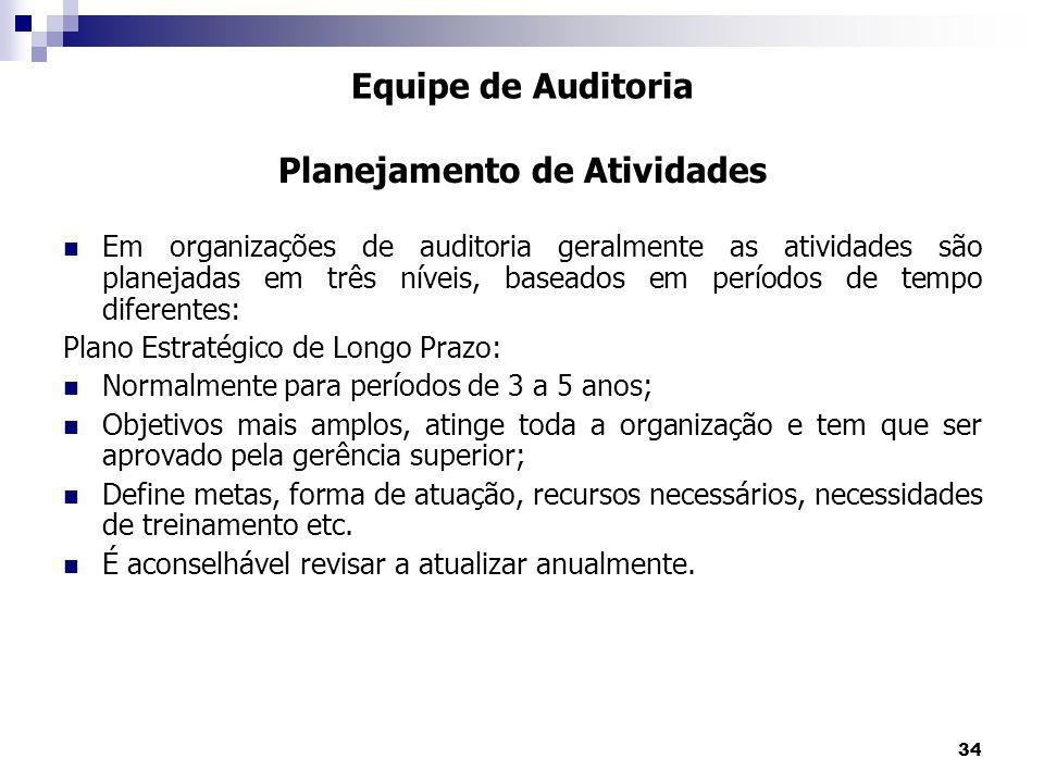34 Em organizações de auditoria geralmente as atividades são planejadas em três níveis, baseados em períodos de tempo diferentes: Plano Estratégico de