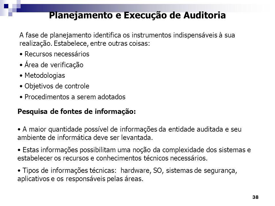 38 Planejamento e Execução de Auditoria A maior quantidade possível de informações da entidade auditada e seu ambiente de informática deve ser levanta