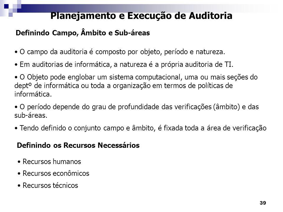 39 Planejamento e Execução de Auditoria O campo da auditoria é composto por objeto, período e natureza. Em auditorias de informática, a natureza é a p