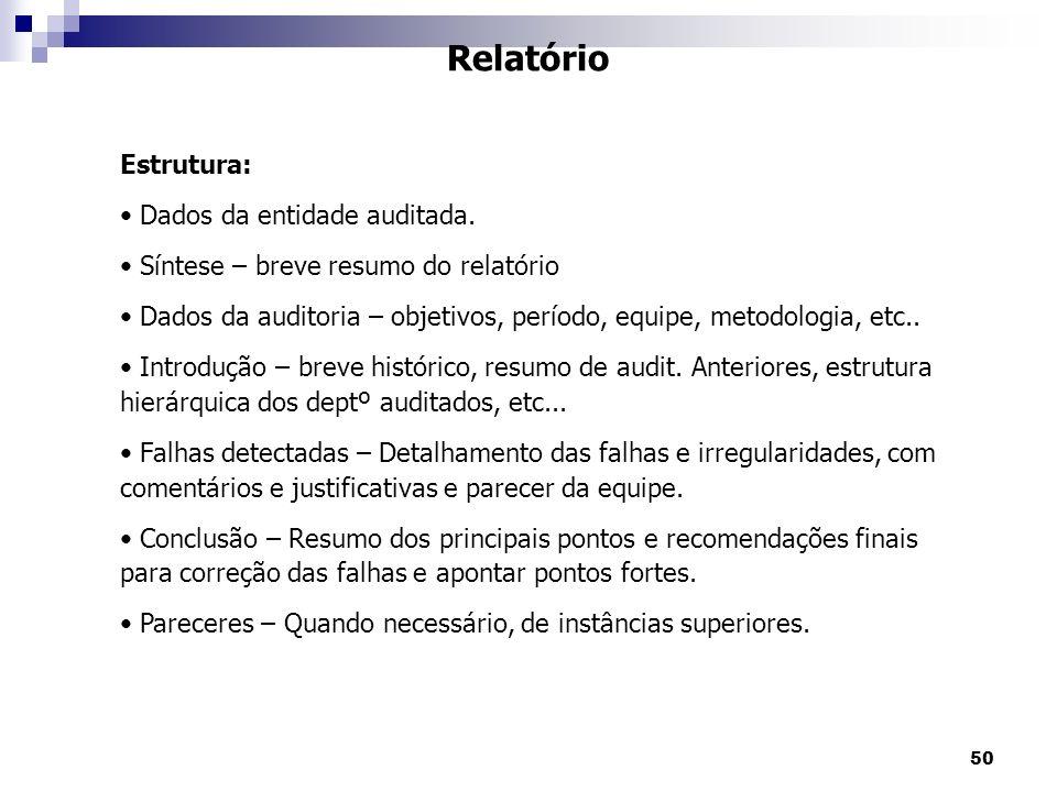 50 Relatório Estrutura: Dados da entidade auditada. Síntese – breve resumo do relatório Dados da auditoria – objetivos, período, equipe, metodologia,