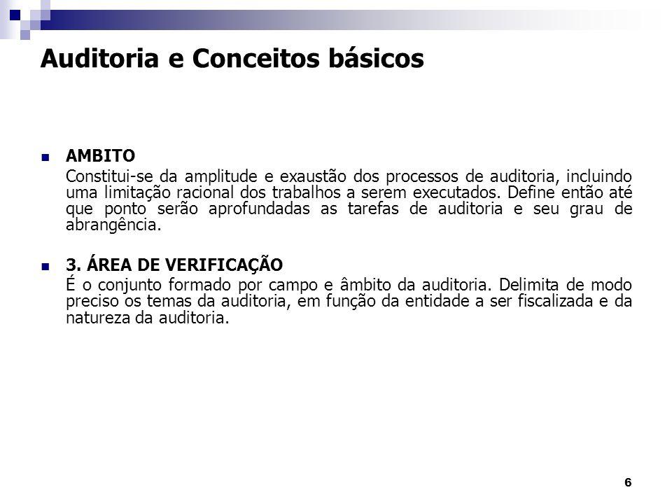 6 Auditoria e Conceitos básicos AMBITO Constitui-se da amplitude e exaustão dos processos de auditoria, incluindo uma limitação racional dos trabalhos