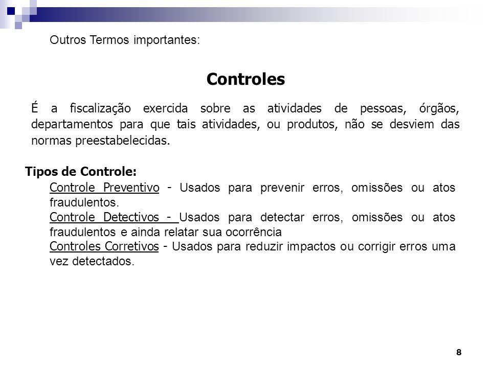 8 Controles É a fiscalização exercida sobre as atividades de pessoas, órgãos, departamentos para que tais atividades, ou produtos, não se desviem das