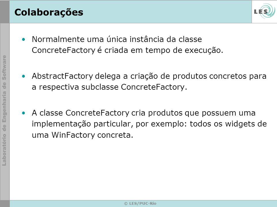 © LES/PUC-Rio Colaborações Normalmente uma única instância da classe ConcreteFactory é criada em tempo de execução. AbstractFactory delega a criação d