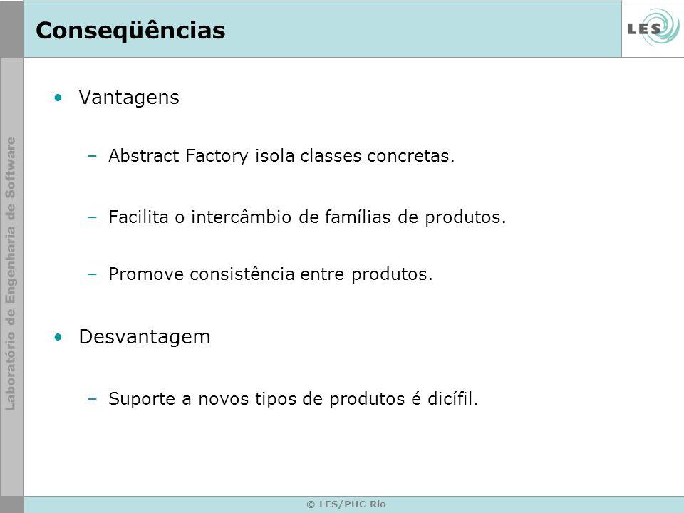 © LES/PUC-Rio Conseqüências Vantagens –Abstract Factory isola classes concretas. –Facilita o intercâmbio de famílias de produtos. –Promove consistênci
