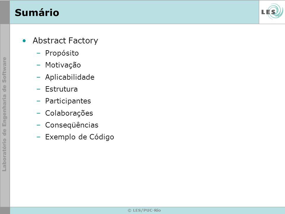 © LES/PUC-Rio Sumário Abstract Factory –Propósito –Motivação –Aplicabilidade –Estrutura –Participantes –Colaborações –Conseqüências –Exemplo de Código