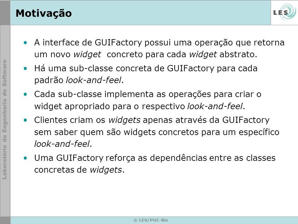 © LES/PUC-Rio Motivação A interface de GUIFactory possui uma operação que retorna um novo widget concreto para cada widget abstrato. Há uma sub-classe