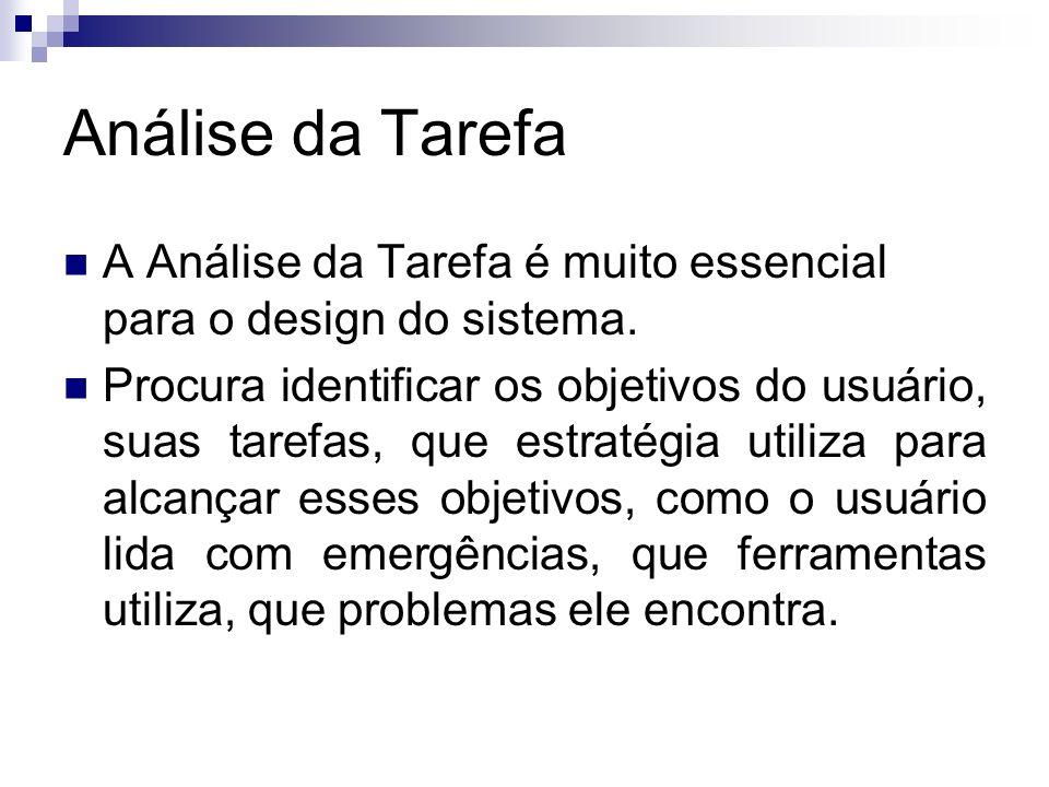 Análise da Tarefa A Análise da Tarefa é muito essencial para o design do sistema. Procura identificar os objetivos do usuário, suas tarefas, que estra