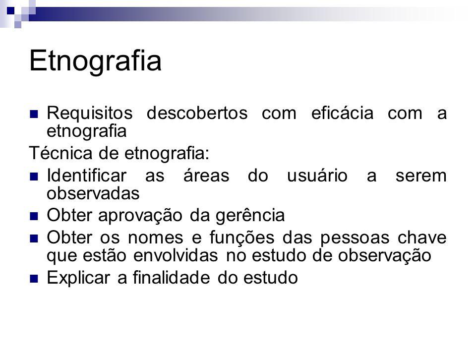Etnografia Requisitos descobertos com eficácia com a etnografia Técnica de etnografia: Identificar as áreas do usuário a serem observadas Obter aprova