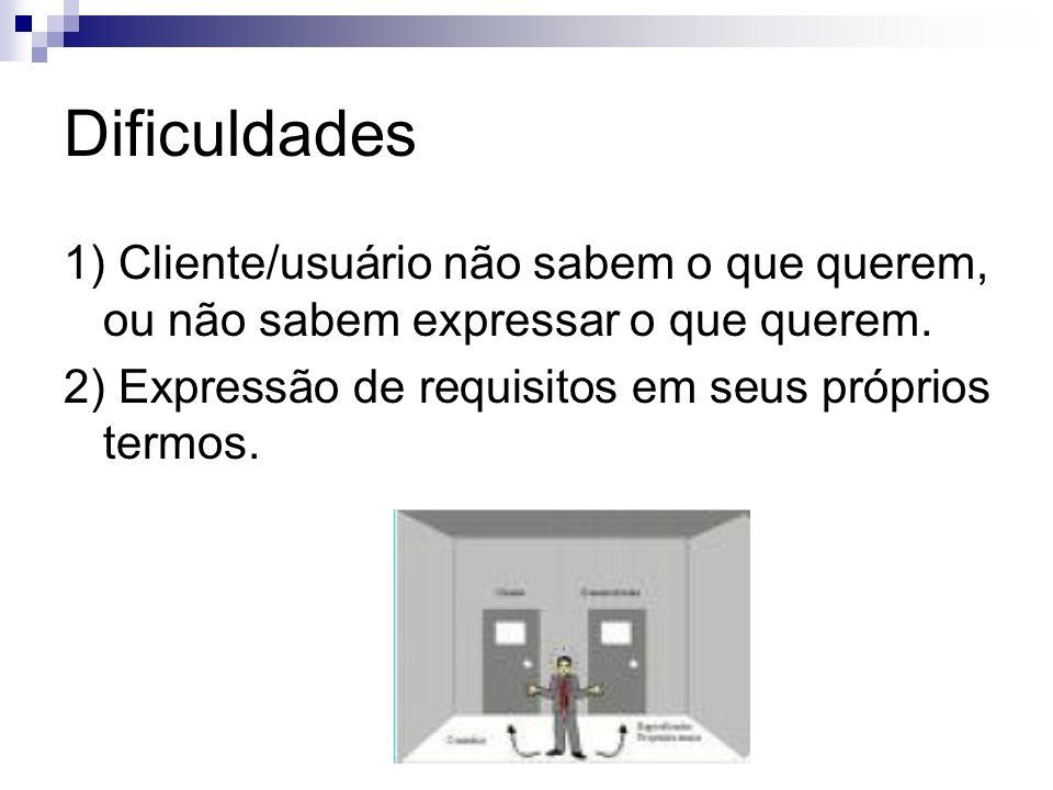 Dificuldades 1) Cliente/usuário não sabem o que querem, ou não sabem expressar o que querem. 2) Expressão de requisitos em seus próprios termos.