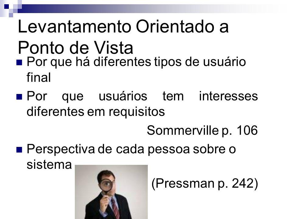 Levantamento Orientado a Ponto de Vista Por que há diferentes tipos de usuário final Por que usuários tem interesses diferentes em requisitos Sommervi