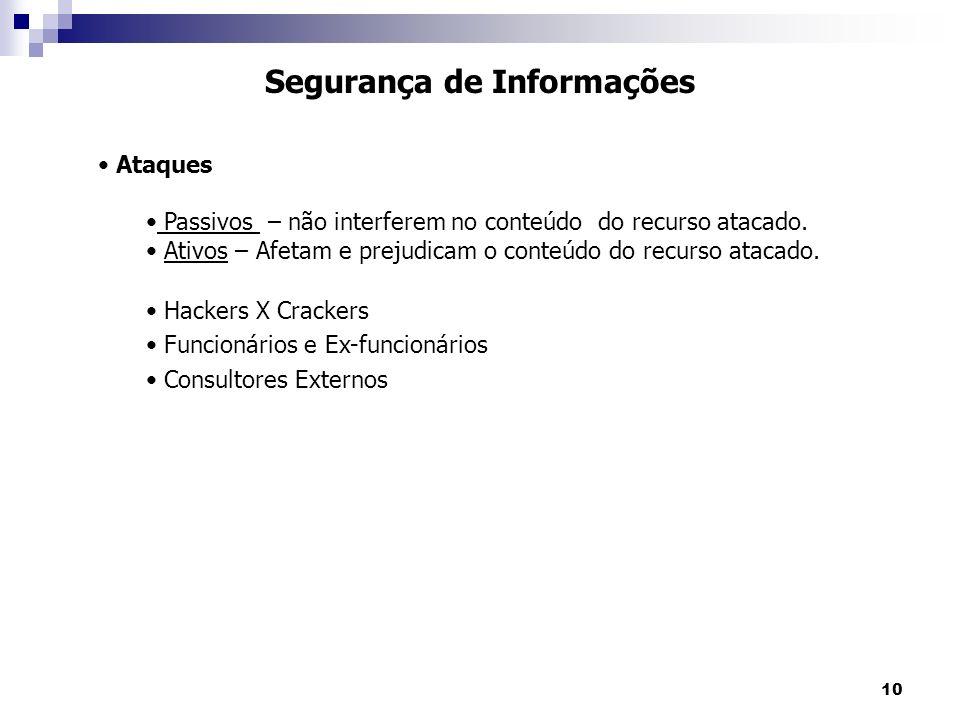10 Segurança de Informações Ataques Passivos – não interferem no conteúdo do recurso atacado.