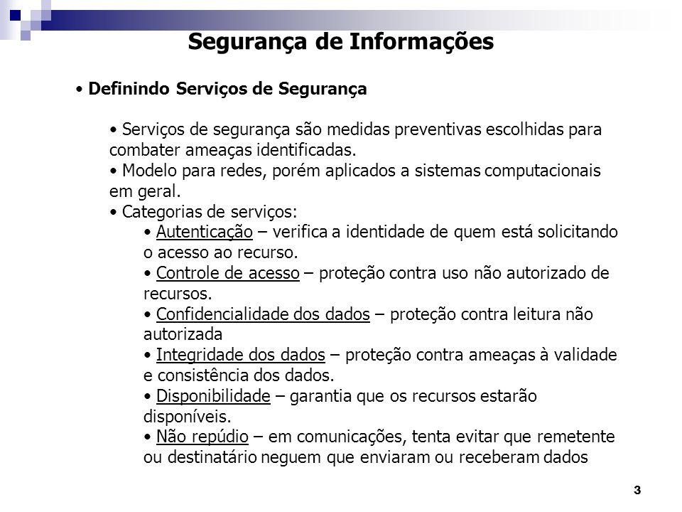 3 Segurança de Informações Definindo Serviços de Segurança Serviços de segurança são medidas preventivas escolhidas para combater ameaças identificadas.
