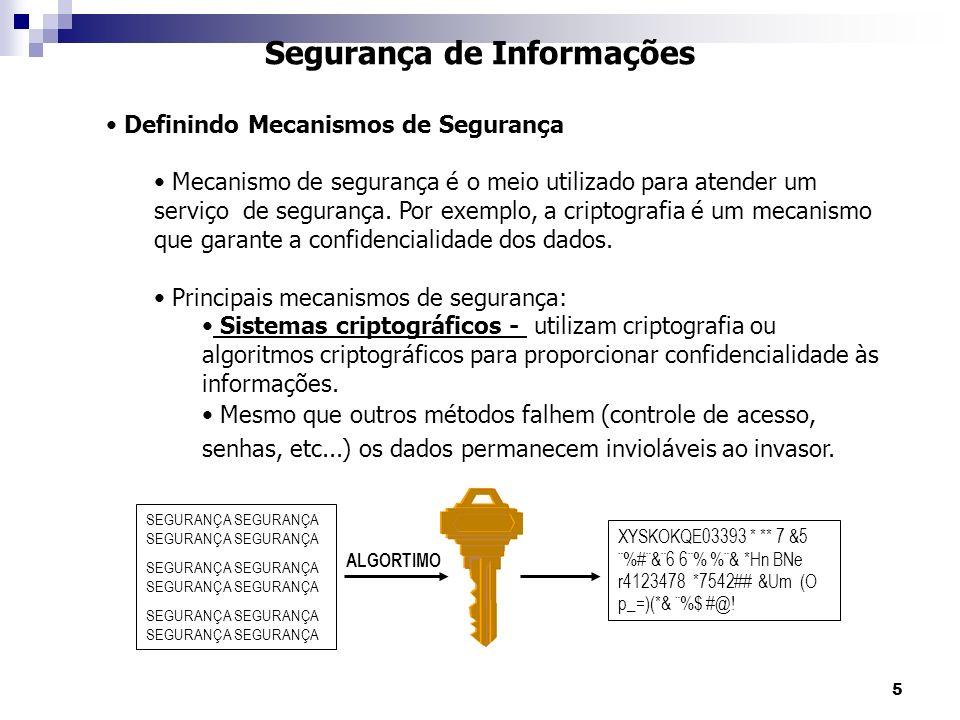 5 Segurança de Informações Definindo Mecanismos de Segurança Mecanismo de segurança é o meio utilizado para atender um serviço de segurança.