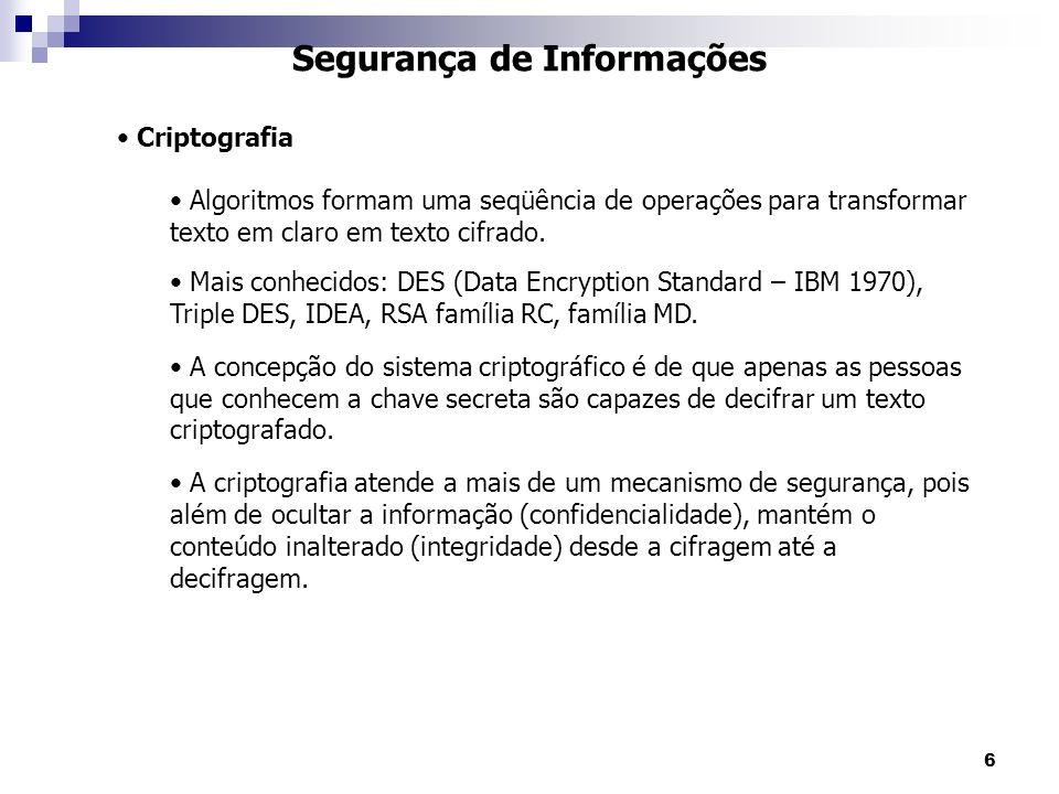 6 Segurança de Informações Criptografia Algoritmos formam uma seqüência de operações para transformar texto em claro em texto cifrado.