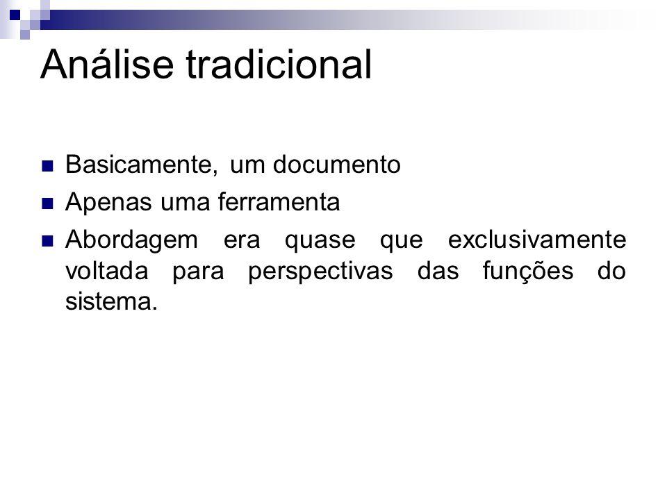 Análise tradicional Basicamente, um documento Apenas uma ferramenta Abordagem era quase que exclusivamente voltada para perspectivas das funções do si