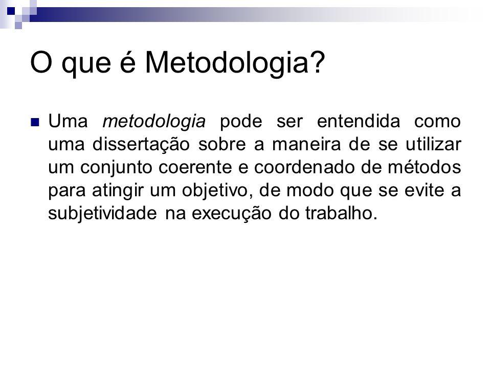 O que é Metodologia? Uma metodologia pode ser entendida como uma dissertação sobre a maneira de se utilizar um conjunto coerente e coordenado de métod