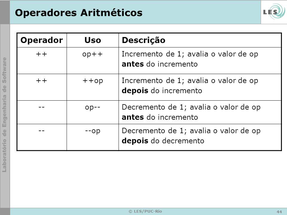 44 © LES/PUC-Rio Operadores Aritméticos OperadorUsoDescrição ++op++Incremento de 1; avalia o valor de op antes do incremento ++++opIncremento de 1; avalia o valor de op depois do incremento --op-- Decremento de 1; avalia o valor de op antes do incremento ----opDecremento de 1; avalia o valor de op depois do decremento