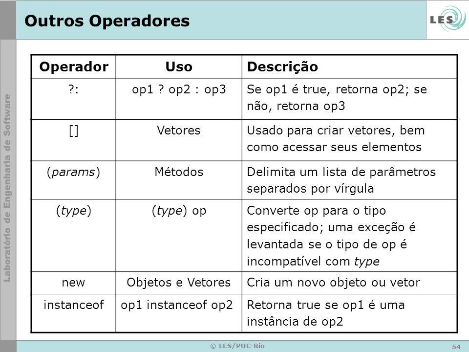 54 © LES/PUC-Rio Outros Operadores OperadorUsoDescrição : op1 .