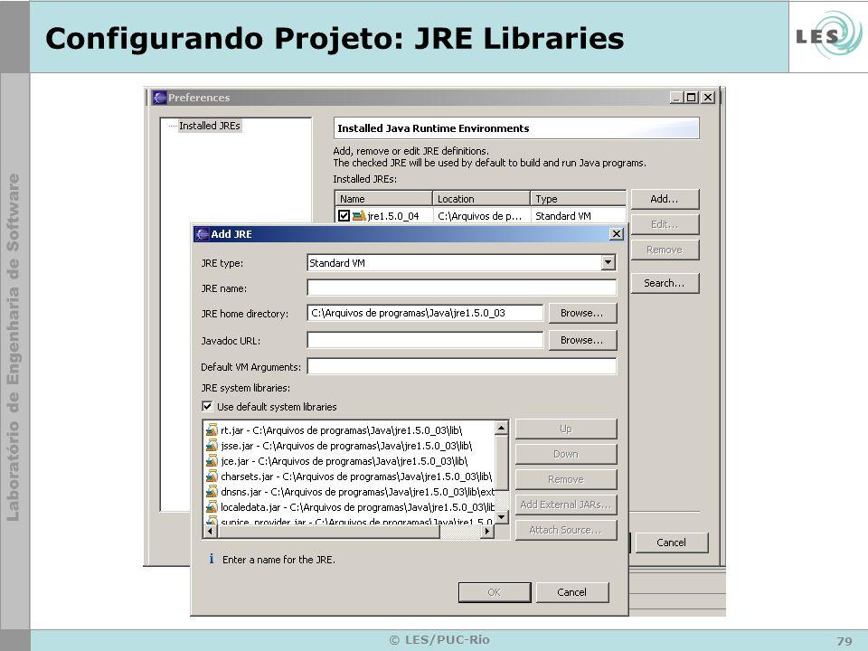 79 © LES/PUC-Rio Configurando Projeto: JRE Libraries